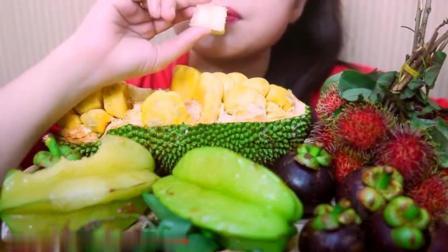 国外女吃货, 吃菠萝蜜, 杨桃, 山竹, 红毛丹, 吃的太过瘾了
