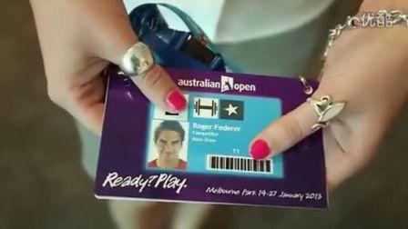 费德勒2013澳网领取球员证卖萌一刻[墨尔本公园]