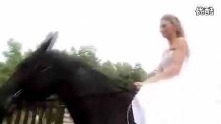 婚纱骑马-美女驯马技术真好