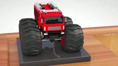 汽车总动员玩具 赛车总动员 警车 挖掘机之大脚车赛车动画视频