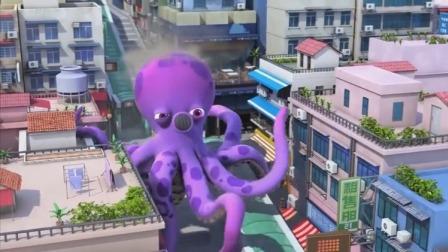 超级飞侠:机械章鱼袭击城市!乐迪和伙伴全力拯救失控章鱼