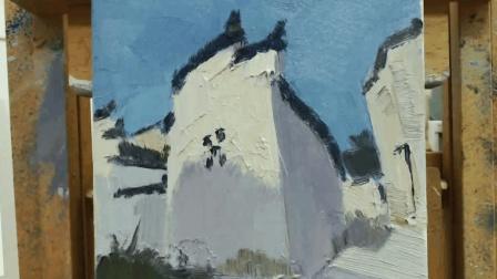绘画一刻半: 油画风景课堂-仿古建筑白房子的塑造
