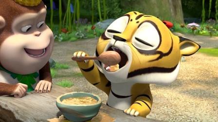 熊熊乐园:虎妞把蜂蜜弄的到处都是,熊二让虎妞不要浪费