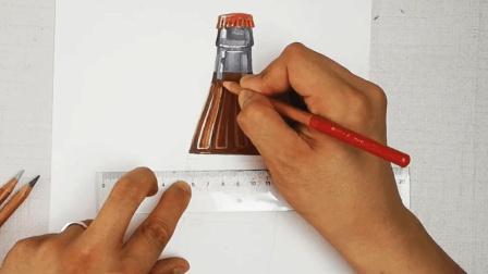 拙画一刻半: 立体彩铅课堂-可口可乐瓶的刻画-下