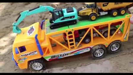 益智儿童玩具, 挖掘机, 水泥罐车在乘坐运输车