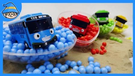 泰路小巴士通过色彩学习做游戏, 巴士跑到了各种颜色的珠子里