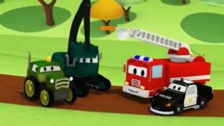 汽车玩具视频 挖掘机玩具表演视频 卡车 消防车 推土机 警车玩具视频