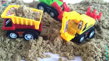 工程车工地施工模拟之推土机挖掘机和运输车