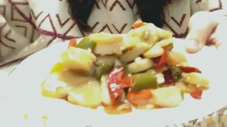 香辣带子肉美食小吃, 口感这么鲜美, 姐你为何要独食呢