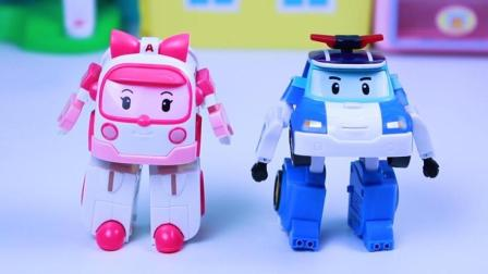 变形警车珀利和救护车安巴玩具分享