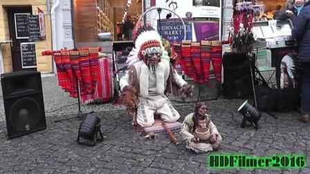 印第安艺人街头表演《最后的莫西干人》一个民族最的悲凉呐喊