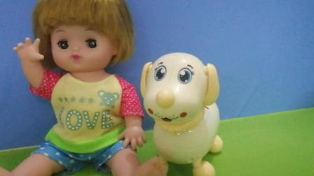 《金发妹妹》今天妈妈给金发妹妹带了来小狗狗, 小朋友要看一下可爱的狗狗吗! !