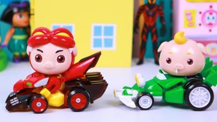 猪猪侠和小呆呆变形卡丁车玩具