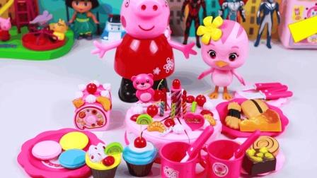 小猪佩奇为乔治准备生日蛋糕过家家玩具