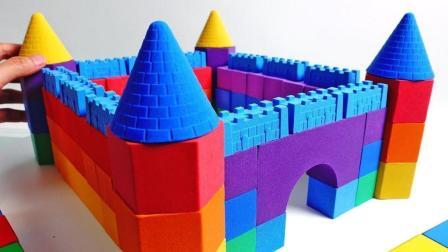 儿童益智, 太空沙DIY彩虹城堡创意造型认识颜色