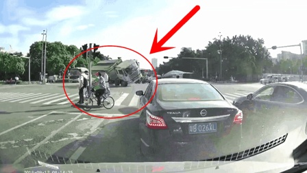电动车横穿马路, 大货车司机错了!
