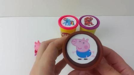 peppa pig 小猪佩奇佩琪玩具分享乔治苏西 learn colors play doh clay cups