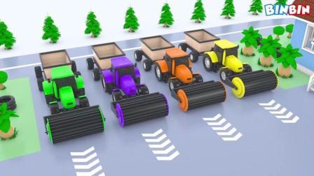 创意动画: 学颜色 农用车辆拖拉机卡车 儿童趣味视频