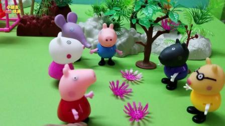 今天小朋友都在公园玩, 乔治和丹尼却在乱摘花朵!