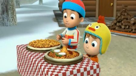 汪汪队大立功: 杰克烤了好多披萨, 莱德和狗狗们吃的好开心