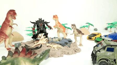 变形金刚汽车人与恐龙的决战~ 快保护好家园