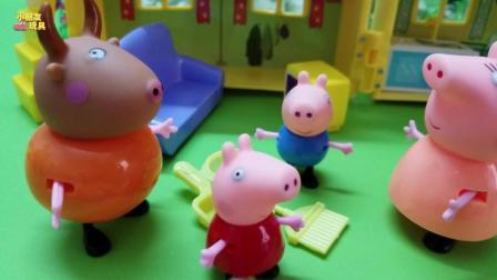 今天小猪佩奇和乔治跟黄牛先生一起扫街道, 这下子街道干净好多了!