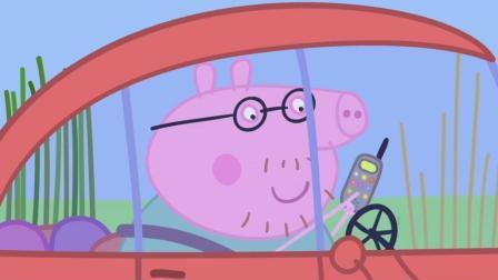 小猪佩奇: 猪爸爸的汽车掉到泥坑里了, 兔小姐的直升机前来救援