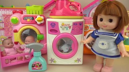 趣味玩具: 洋娃娃滚筒洗衣机玩具游戏, 提高情商的玩具