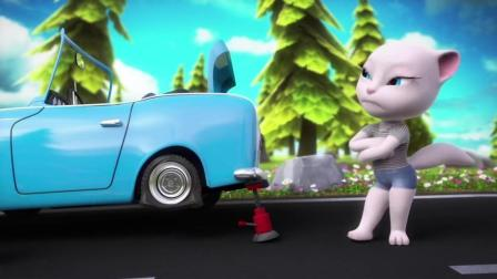 搞笑汤姆猫和安吉拉开心出去旅游 结果变成了汤姆猫追轮胎历险记