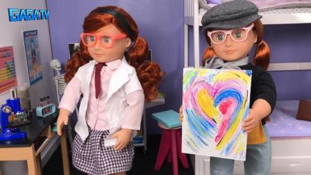 双胞胎娃娃  玩玩具娃娃学习颜色画画   做科学实验