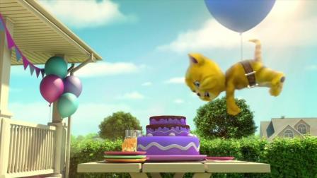 搞笑动画, 可爱小老虎汤姆搞笑吃蛋糕, 结果啥也没吃到被笑话了