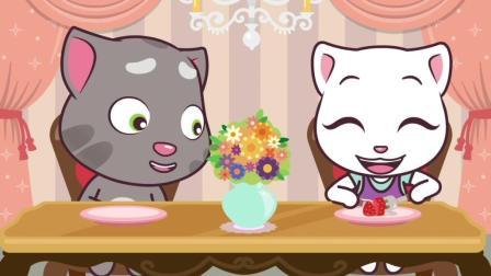 搞笑动画 爱美的安加拉称体重吓一跳拉着汤姆猫一起减肥失败了