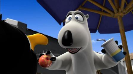 搞笑动画: 笨笨倒霉熊学小企鹅跳水 可是追不到企鹅太搞笑了