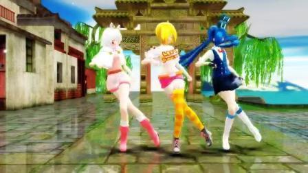 三个可爱的小女孩跳舞