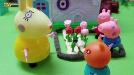 小猪佩奇玩具故事: 兔小姐种了好多的花! 吸引了好多小朋友