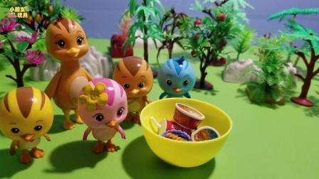 萌鸡小队玩具故事: 美佳妈妈带着萌鸡去野餐, 好开心呀也可以吃好吃的啦