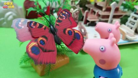 小猪佩奇玩具故事: 佩奇乔治追蝴蝶, 追到了一个小岛上面去了