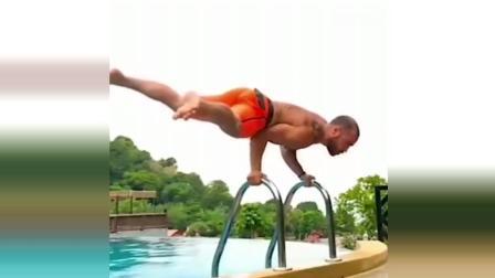 极限精彩时刻: 泳池各种炫技 高手真牛!