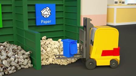 小汽车儿童动画英文儿歌幼儿教育系列(五)保护环境 分类回收