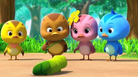 《萌鸡小队》萌鸡小队遇到了巨大的毛毛虫, 真可爱