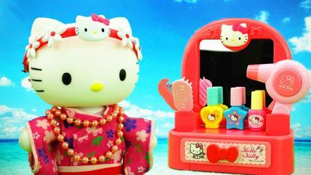 hello kitty凯蒂猫粉色梳妆台儿童玩具