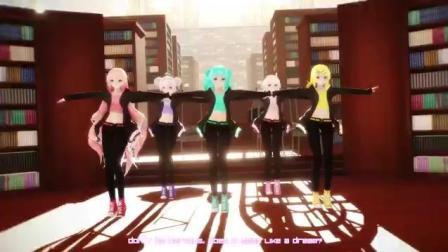 初音五人组跳活泼的舞蹈