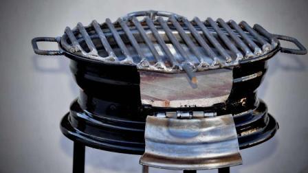 大叔用废弃的轮毂制作火炉, 真是简单又实用, 简直太给力了