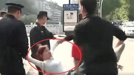 女司机医院乱停车, 骂保安看门狗, 保安忍无可忍, 打得她坐地不起!