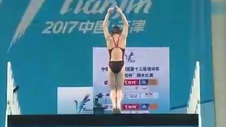 女子跳水, 13岁小将张家齐逆天一跳, 完全没有水花, 超赞