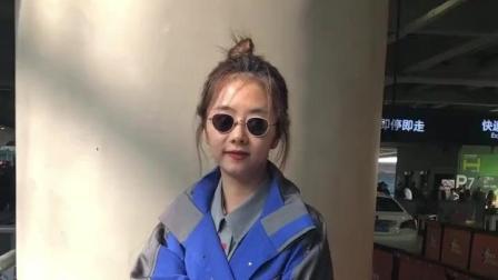 谭松韵又穿蓝色长风衣, 换款发型变身御姐范, 更有气质了!