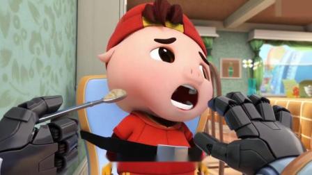 阿五告诉猪猪侠,估计是美食机觉得他有点胖,给他做了减肥食品!