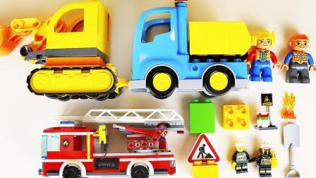 挖掘机消防车乐高积木玩具
