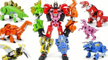 POTP恐龙战队5合1超大型合体机器人变形玩具