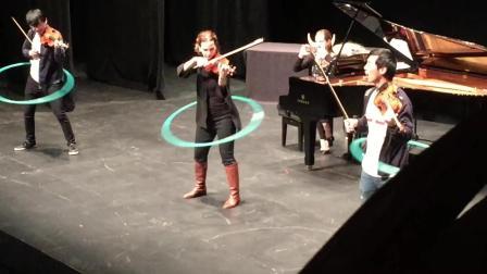 小提琴大师哈恩和她的小伙伴边玩呼啦圈, 边拉帕格尼尼